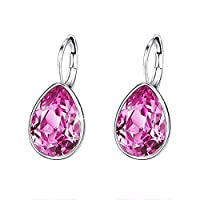 Aimik Ladies Fashion Crystal Earrings, Women Boutique Solid Color Crystal Party Accessories, Hypoallergenic Multi-Piercing Ears Earring Wedding Day Gold Jewelry Birthday (Pink)
