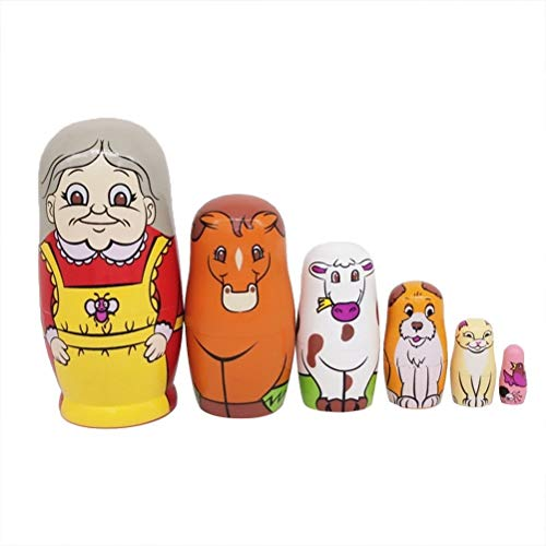 JJSFJH 6-lagige verschachtelte russische Puppenbauerngroßmutter und Ihr hölzernes Spielzeug der Haustierpuppe (Kostüm Der Russischen Folklore)