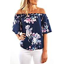 Blusas para Mujer Elegantes Verano,Floreada Media Mangas Off Shoulder Moda Diario Casuales Camiseta Top