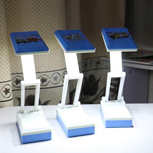 Faltendes mini super helles Karikaturaugenlicht Plug-in-Studentenwohnheim-Desktopleseschreiben Energiesparendes kleines Tischlampenblau-Mischhaar -