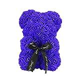 LIOOBO Rose Bear Hug Bear Artificial para Siempre Aniversario Cumpleaños Valentines Gift - (25cm Royal Blue)