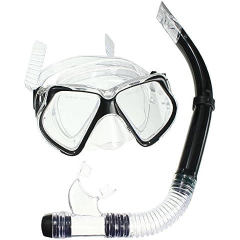 KING DO WAY Set per Snorkeling kit Maschera Secco Boccaglio Set Maschera Subacquea Tubo Nero+Trasparente