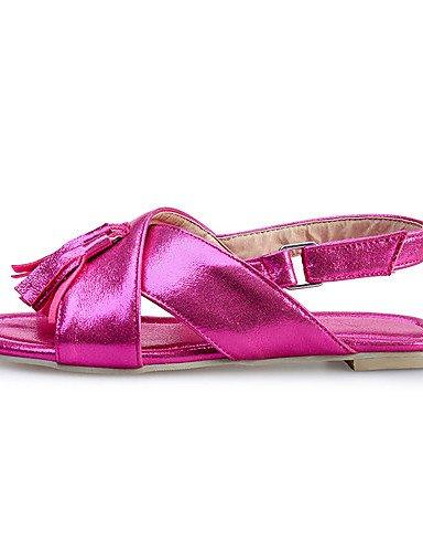 LFNLYX Chaussures Femme-Décontracté-Bleu / Rouge / Argent / Or-Talon Plat-Bout Ouvert-Sandales-Similicuir Silver