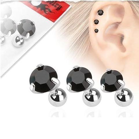 Lot 3 Piercings Cartilage Oreille en Acier Chirurgical 316 L et pierres de zircon – Piercing Hélix Tragus– 3 couleurs au choix Blanc, noir et rouge
