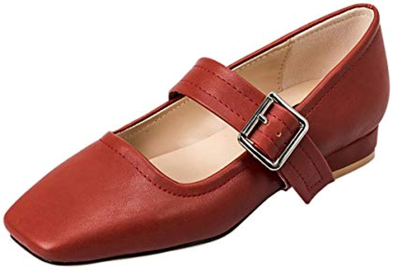 KOKQSX-Le Printemps et l'automne de Bouche Chaussures à Fond Plat Petite Bouche de tête carrée fée Chaussures Joker. 5e30f1