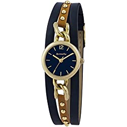 Accessorize Women's Quartz Watch with Blue Dial Analogue Display and Blue PU Strap AZ2037