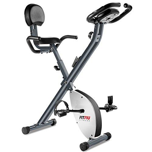 Fitfiu BEST-X2000, Bicicletta statica pieghevole con schienale in similpelle, Grigio metallizzato