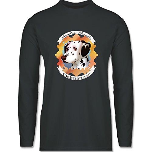 Hunde - Dalmatiner - bunter Hund - Longsleeve / langärmeliges T-Shirt für Herren Anthrazit