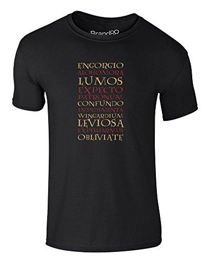 Brand88 - List of Spells, Erwachsene Gedrucktes T-Shirt Schwarz