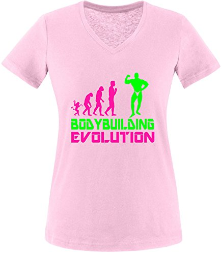 EZYshirt® Bodybuilding Evolution Damen V-Neck T-Shirt Rosa/Pink/Neongr