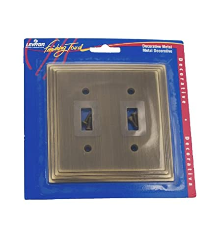 Leviton 89609-STB 2-Gang Toggle Switch Wallplate, Stepped Edge, Brass