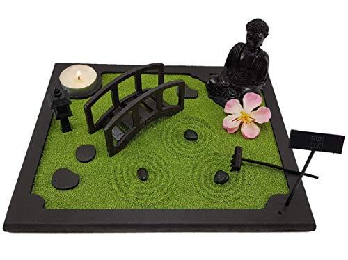 Bonseki. Giardino Zen da tavolo 20 x 25 cm in Legno. Passo giapponese con ponte e Buddha. Totalmente personalizzabile
