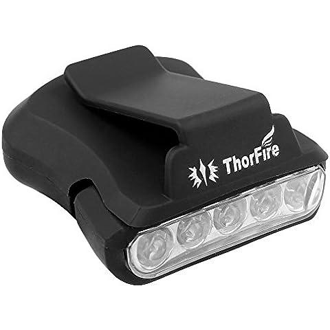 ThorFire 5-LED Sombrero Lámpara Clip, Lámpara Rotativa de la Ala de Sombrero con Manos Libres , Perfecto para la Caza, Camping, Pesca