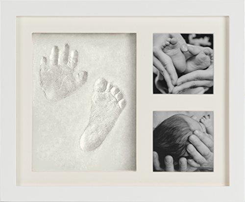 Baby Bilderrahmen für Handabdruck und Fußabdruck | Ideales Geschenk Geburt Neugeborene Andenken Taufe Babyabdruck Babyrahmen Taufgeschenke Junge & Mädchen | Hand Foot Print | DIY-Set | Evagreen