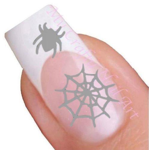 Nailart Sticker Halloween Spinnennetz Silber selbstklebend - Spinne (Halloween-spinnennetze Uk)