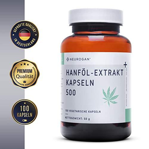 NEUROGAN´s Hanföl-Extrakt Kapseln 500MG / NEU/vegetarisch, glutenfrei / 100 Stück/geschmacklose Alternative zu purem Hanföl-Extrakt -