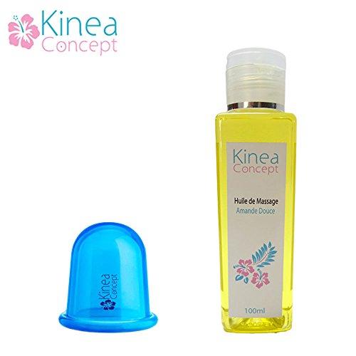 Ventouse anticellulite amincissante Kinea - ventouse BLEUE + huile de massage - traitement anti cellulite peau d'orange efficace - le soin qui draine, raffermit et lisse les jambes, les fesses, les hanches, le ventre et les bras - Bleu