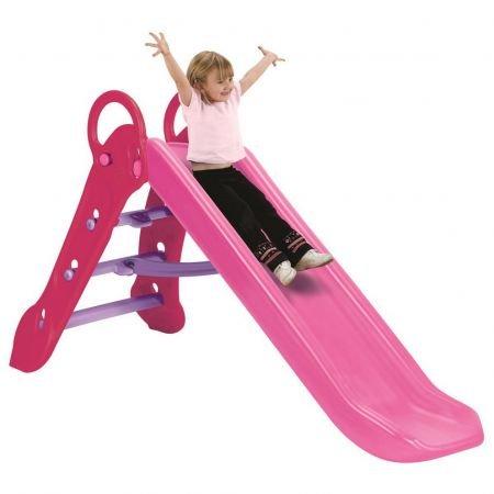 Grow\'n Up Qwikfold Maxi Slide   1,52 m lang   Faltbare große Innen- / Außenrutsche für Kinder   Rosa   Schöne drinnen und draußen Spielplatz Rutsche