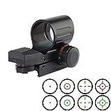 YODZ Réticule Ajustable pour visée holographique à Point de Fusil Tactique Rouge-Vert pour Fentes de Montage sur Rail Weaver/Picatinny de 11 mm / 20 mm