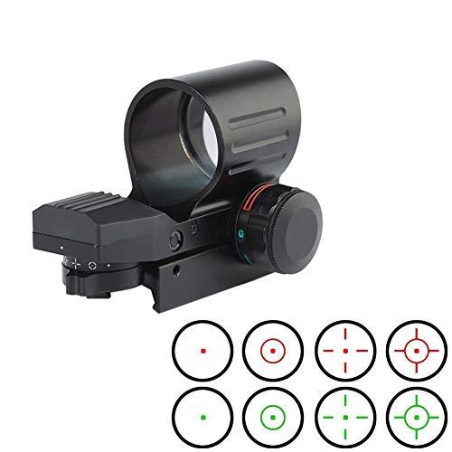 YODZ Taktisches Zielfernrohr Roter grüner Punkt Holographische Anblick Justierbares Absehen für 11mm / 20mm Weaver/Picatinny-Schienenmontage und Weaver-Slots