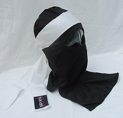 Shinobi Ninja Ultimate Warrior Face Maske Set japanischen (Aka) schwarz Maske mit Tenugui weiß Kopf Band Schal 1Größe, Fancy Dress, Halloween, Kostüm