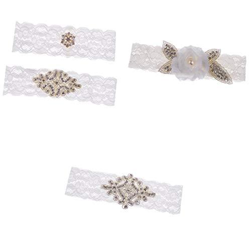 F fityle 4 pezzi giarrettiere da sposa bianco pizzo strass seta da sposa e accessori per accessori da ricami