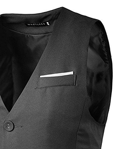 YCHENG Herren Mode Casual Business Weste Anzugweste Slim fit Grau
