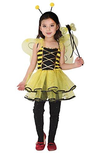 Happy Cherry Kinder Mädchen Niedlich Gelb Biene Cosplay Kleid Kostüm Zubehör für Halloween Karneval Fastnacht Party Bühne Größe (Doe Mädchen Kostüm)