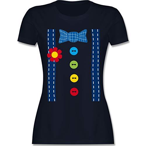 Karneval & Fasching - Clown Kostüm blau - M - Navy Blau - L191 - Damen Tshirt und Frauen T-Shirt