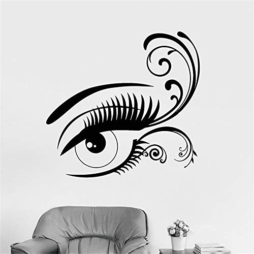 lyclff Einfache Europäische Tapete Augenbrauen Design Aufkleber Vinyl Wandtattoo Mädchen Schönheit Friseursalon Fenster Poster Wohnkultur ~ 1 57X53 cm