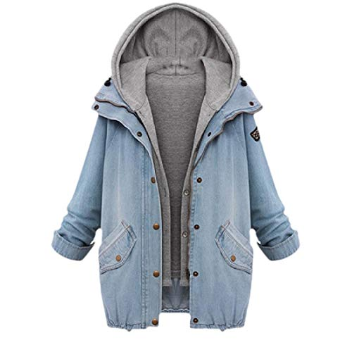 CuteRose Women Oversized Hood Denim Jackets Long Sleeve Fall Winter Overcoat Blue L