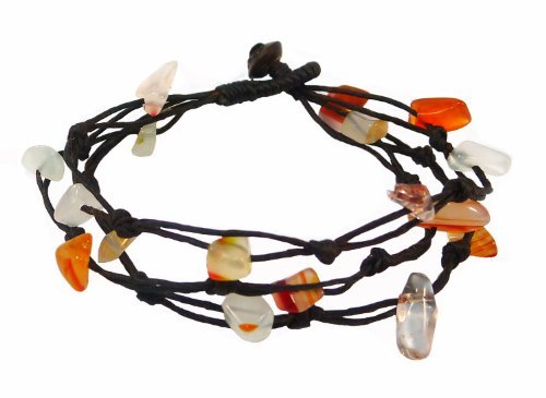Bijoux De Ja handgewebte Karneol Chip Bead Wax Cord Strand Armband 17,8cm -