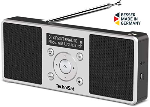 TechniSat Digitradio 1 S - tragbares Stereo DAB Radio mit Akku (DAB+, UKW, FM, Lautsprecher, Kopfhörer-Anschluss, Favoritenspeicher, OLED-Display, 2 W RMS) silber/schwarz Digital Radio Akku