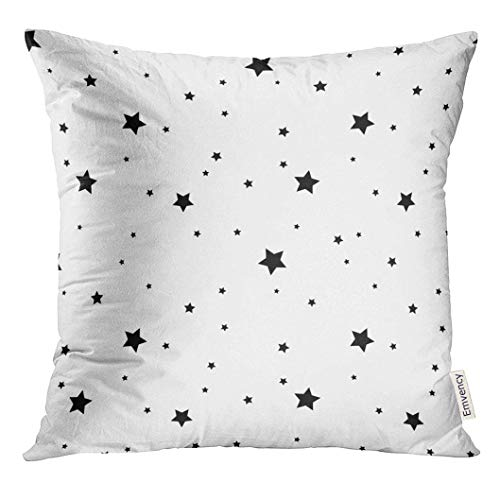 Throw Pillow Cover Small Star Black and White Retro Chaotic Abstract Geometric Shape Effect Sky Design for Christmas Decorative Pillow Case Home Decor Square 18x18 Inches Pillowcase