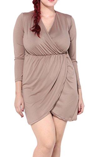 Smile YKK Femme Plus Size Robe Chemise Slim Kimono Moulante Grosse Taille Marron