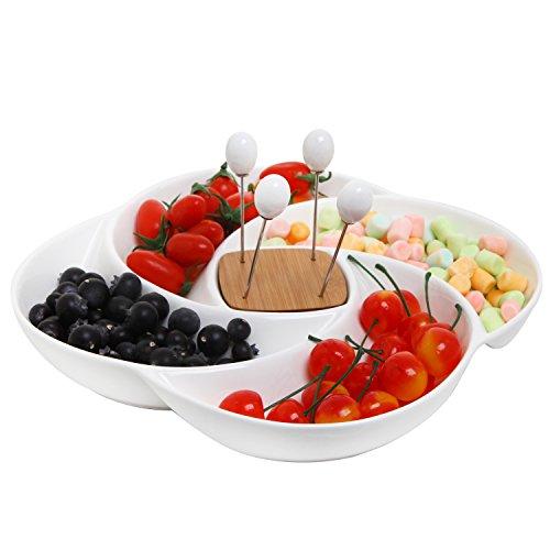Deko Keramik weiß für Antipasti Servierplatte Tablett mit Food Picks und Holz Halter