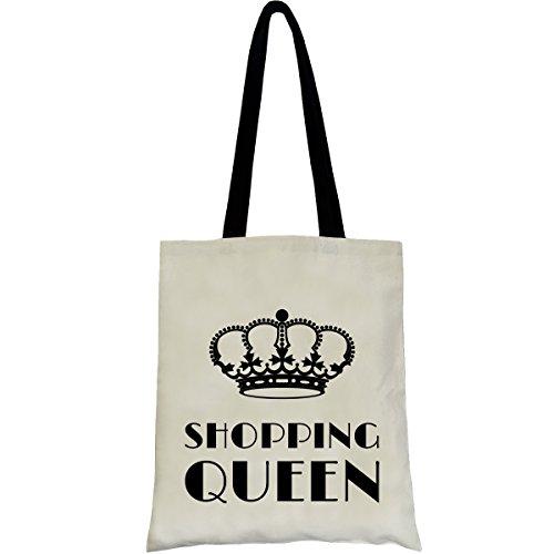 PREMYO Einkaufstasche Jutebeutel Bedruckt mit Spruch Motiv Shopping Queen Baumwolle Lange Henkel Umhänge-Beutel Shopper Ideales Geschenk Natur
