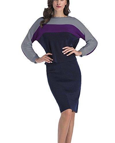 Donna pullover maniche lunghe gonne in maglia gonne a vita alta a due pezzi grigio viola xl