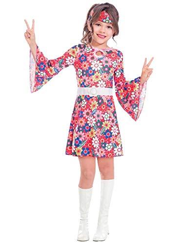 Fancy Me Mädchen Teen 60s Floral Rosatöne Hippie Decade Sixties 1960s Kostüm Kleid Outfit 6-14 Jahre - 6-8 Years