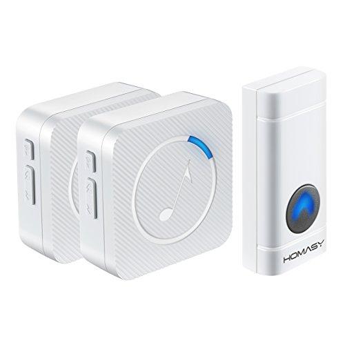 Sonnette-Sans-Fil-tanche-HOMASY-Carillon-lectronique-Sonnette-de-Porte-avec-2-Rcepteurs-Carillon-Porte–300M-avec-52-Mlodies-4-Niveaux-de-Volume-Rglable-et-Flash-LED-pour-Maison-Urgence-Bureau-Magasin
