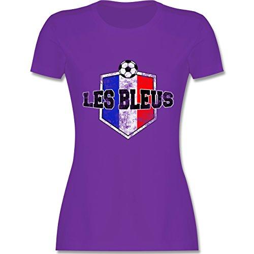 EM 2016 - Frankreich - Frankreich- Les Bleus Vintage - tailliertes Premium T-Shirt mit Rundhalsausschnitt für Damen Lila