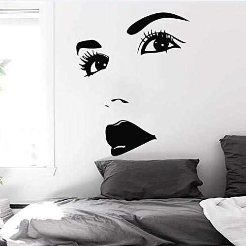 Augen Wandtattoo Beautifyl Gesicht Lip Girl Wandaufkleber Home Room Decor Girl Make Up Wandbild Beauty Salon Vinyltapete AY974-114x90cm
