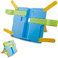 Multifunktionale BookStand Kinder, zusammenklappbar, mit Beinen, Kochbuch, Tisch, stabil, leicht, mit Halter, Blau