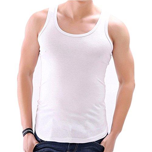 YANWANG 2 Pack Herren Unterwäsche Weste 100% Baumwolle Tank Tops Weiß * 2