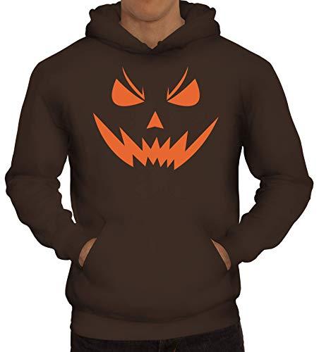 ShirtStreet Fasching Karneval Gruppen Herren Hoodie Männer Kapuzenpullover Halloween Horror Face 2, Größe: 3XL,braun (Männer Halloween-kostüm Ideen 2)