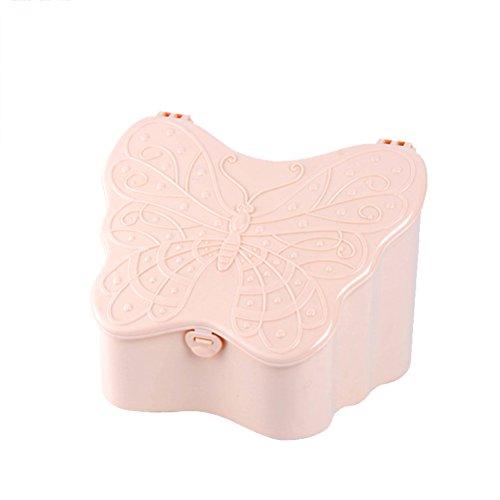 Yardwe Kosmetikhalter Makeup Box Organizer Schmetterling Geformt Schmuck Lagerung mit Spiegel Platzsparend für Zuhause (Khaki)