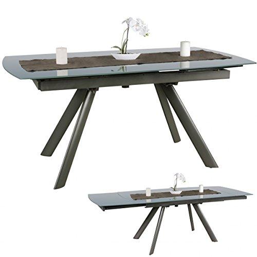 WOHNLING Esszimmertisch 160 - 240 cm ausziehbar dunkelgrau Metall / Glas - Tisch für Esszimmer rechteckig - Küchentisch 6 - 10 Personen - Design Esstisch