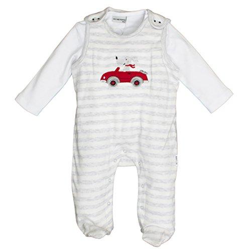 SALT AND PEPPER Baby-Jungen Strampler NB Playsuit Bear Stripe, Grau (Light Grey Melange 201), 62