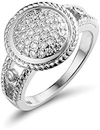 Aurora de lágrimas elegante anillo Zircon de cobre chapados en oro de forma redonda diamante