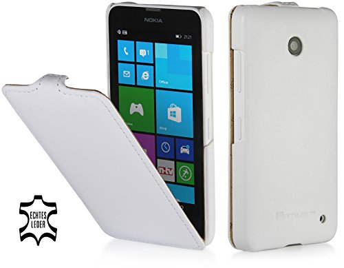 StilGut UltraSlim Case, Custodia in Vera Pelle per Nokia Lumia 630, Bianco Vintage